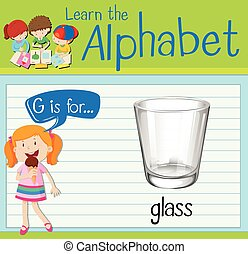Flashcard alphabet G is for glass