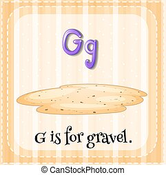 Flashcard alphabet G is for gravel