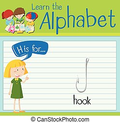 Flashcard alphabet H is for hook