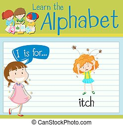 Flashcard alphabet I is for itch illustration