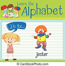 Flashcard alphabet J is for jester