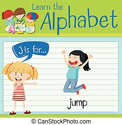 Flashcard alphabet J is for jump