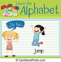 Flashcard alphabet J is for jump