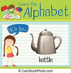 Flashcard alphabet K is for kettle