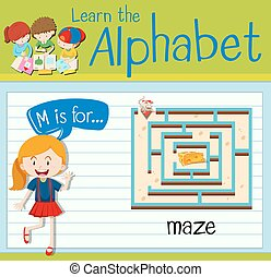 Flashcard alphabet M is for maze