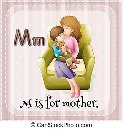 Flashcard alphabet M is for mother