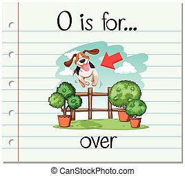 Flashcard alphabet O is for over