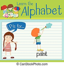 Flashcard alphabet P is for paint