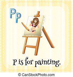 Flashcard alphabet P is for painting