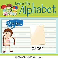 Flashcard alphabet P is for paper