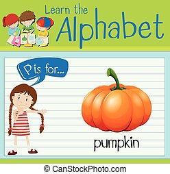 Flashcard alphabet P is for pumpkin