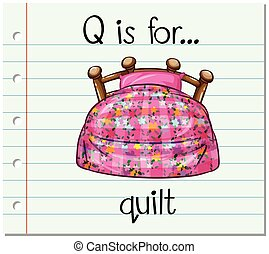 Flashcard alphabet Q is for quilt