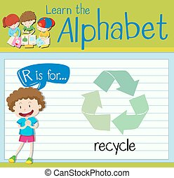 Flashcard alphabet R is for recycle