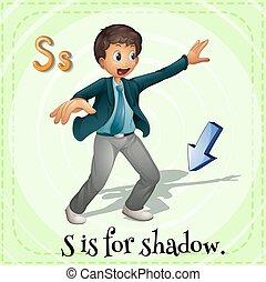 Flashcard alphabet S is for shadow
