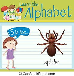 Flashcard alphabet S is for spider