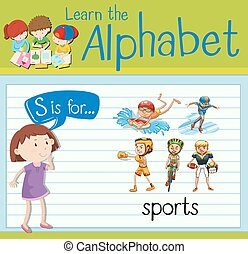 Flashcard alphabet S is for sports