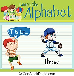 Flashcard alphabet T is for throw illustration