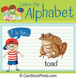Flashcard alphabet T is for toad