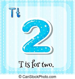 Flashcard alphabet T is for two