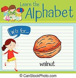 Flashcard alphabet W is walnut