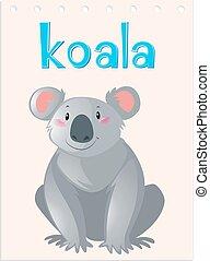 Flashcard animal with koala