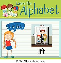 flashcard, ascenseur, l, lettre