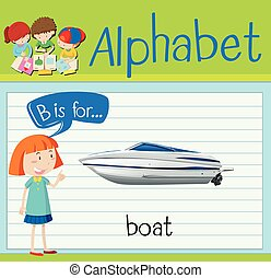 flashcard, b, ボート, 手紙