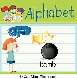flashcard, b, bomba, letra