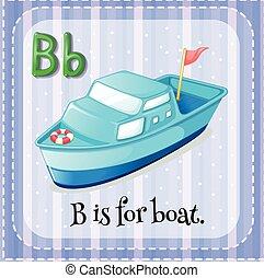 flashcard, b, bote, letra