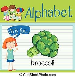 flashcard, b, bróculi, carta