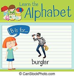 flashcard, b, cambrioleur, lettre
