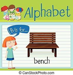 flashcard, b, letra, banco