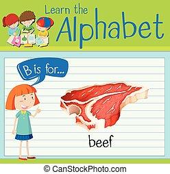 flashcard, b, letra, carne