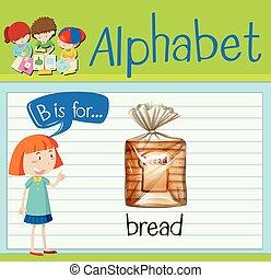flashcard, b, letra, pão