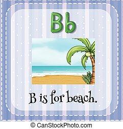 flashcard, b, praia, letra