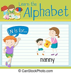 flashcard, bambinaia, lettera n