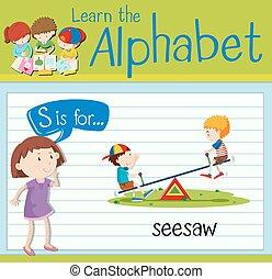 flashcard, bascule, s, lettre