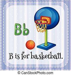 flashcard, basquetebol, b, letra