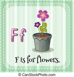 flashcard, bloemen, brief f