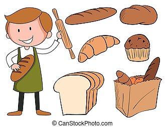 flashcard, boulanger, pain