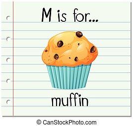 flashcard, brief m, is, voor, muffin