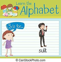 flashcard, brief s, is, voor, kostuum
