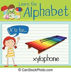 flashcard, brief x, is, voor, xylofoon