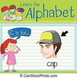 flashcard, c, 帽子, 手紙