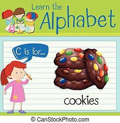 flashcard, c, biscotti, lettera
