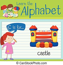 flashcard, c, castello, lettera