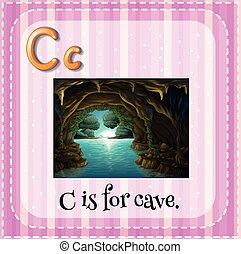 flashcard, c, caverna, lettera