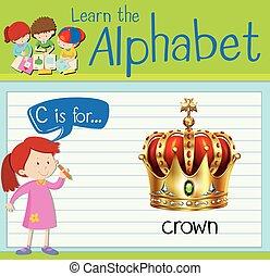 flashcard, c, corona, lettera