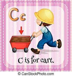 flashcard, c, letra