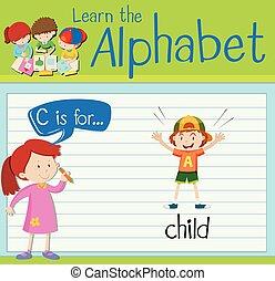 flashcard, c, lettera, bambino